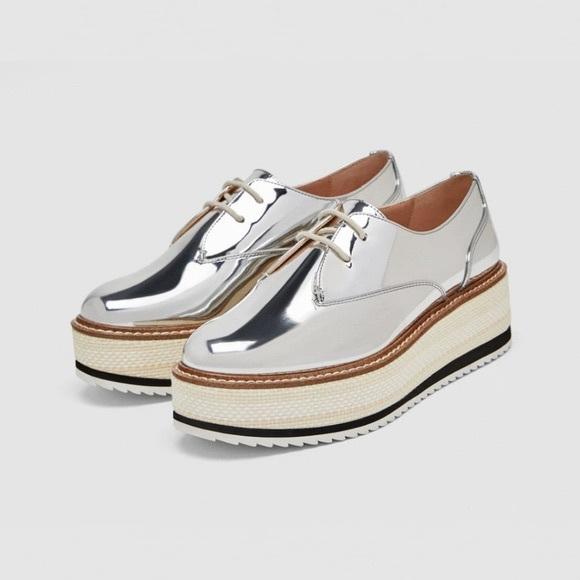 Zara Silver Platform Derby Shoes